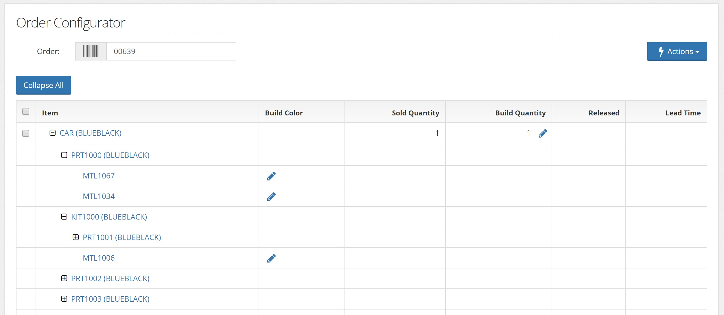 Edit line item details for orders using the Order Configurator feature before they are released to the Planning Module.
